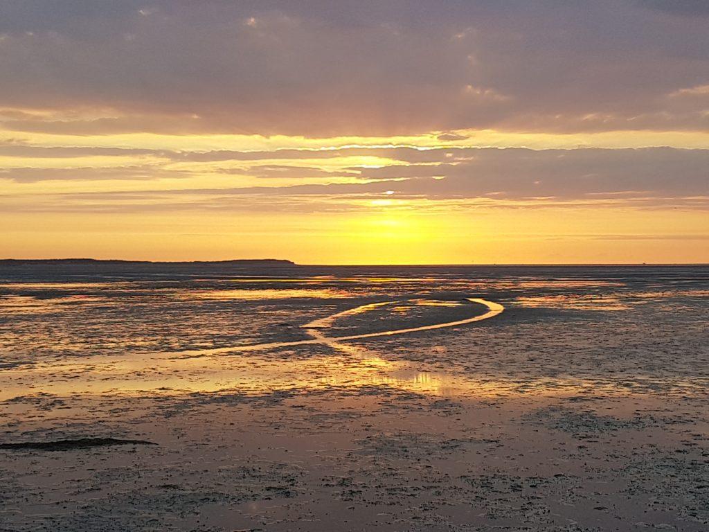 prachtige zonsondergang op t Wad